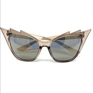 Cat Eye Reflective Sunglasses Trendy Charcoal Gray